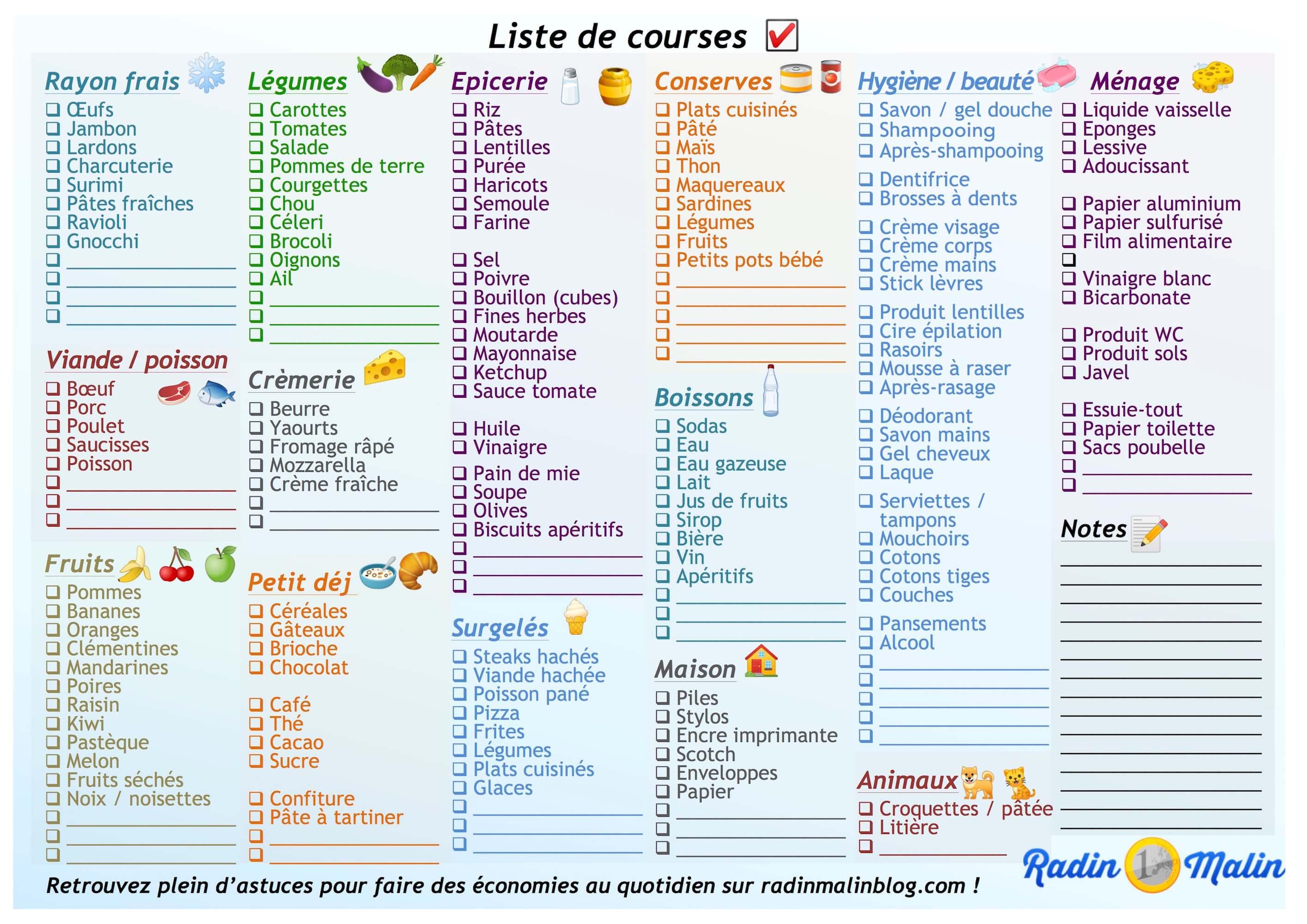 Liste De Courses Gratuite à Imprimer En 2 Secondes Chrono