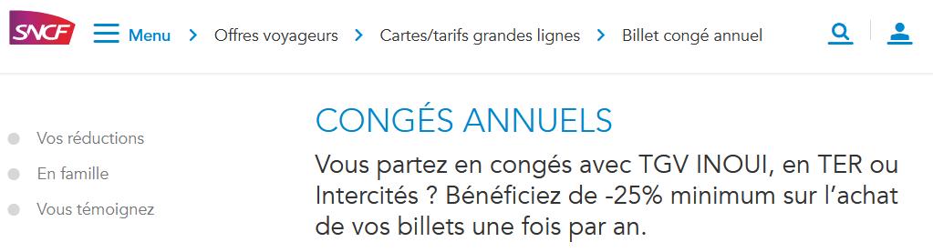 Billet congé annuel SNCF