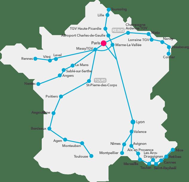 Carte réseau Ouigo 2020 France