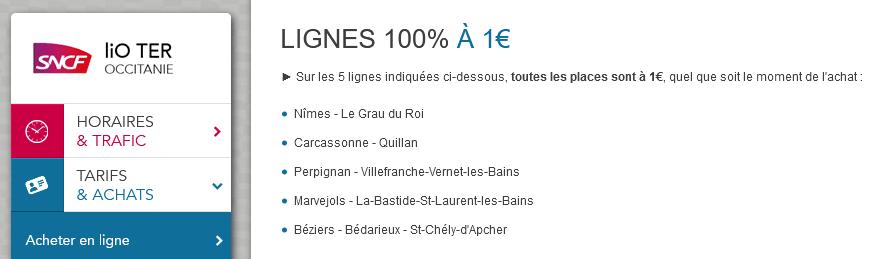 LiO TER Occitanie 1 euro