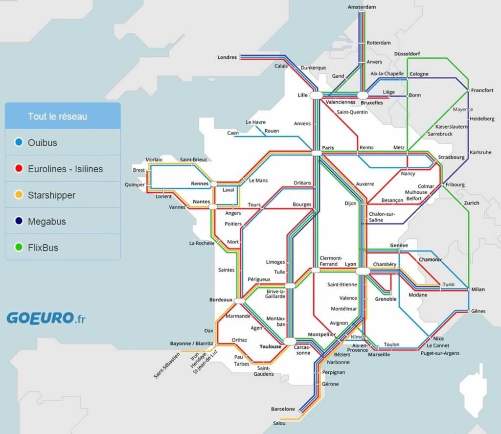 Carte Flixbus Europe.Le Voyage En Bus En France Et En Europe Pour Quelques Euros