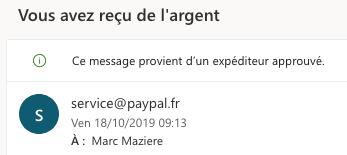 e-mail PayPal vous avez reçu de l'argent
