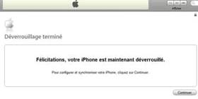 déverrouillage iphone terminé