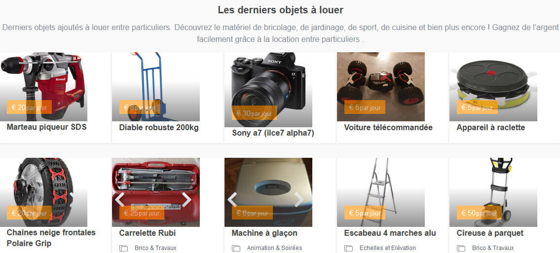 location objets entre particuliers Loolib