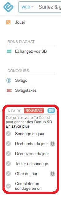 Swagbucks to do list