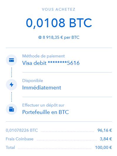 achat Coinbase BTC