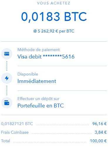 achat BTC Coinbase