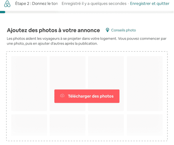Ajouter photos annonce Airbnb