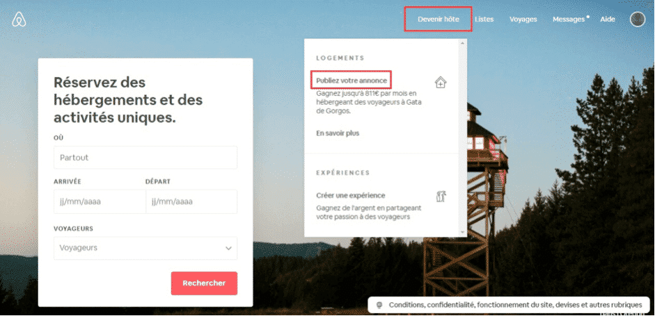 Créer annonce Airbnb