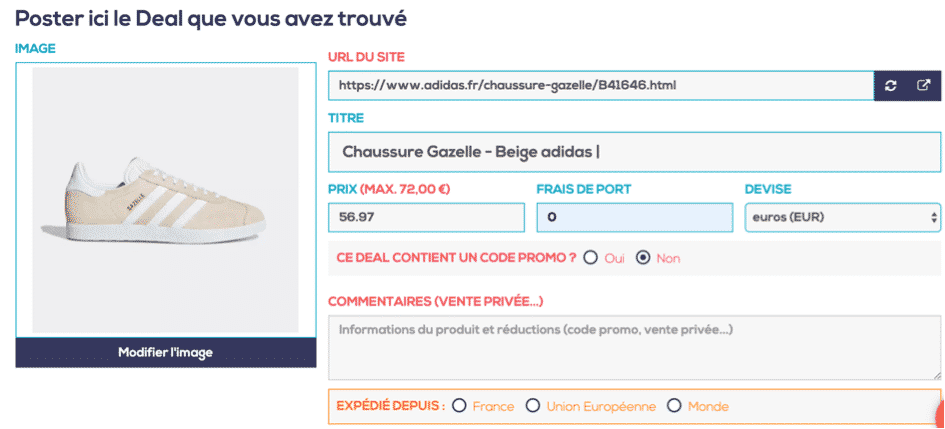 Crossshopper deal trouvé
