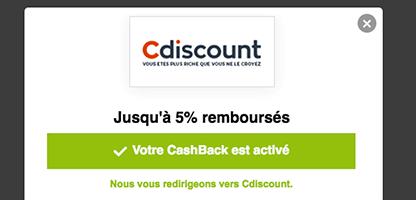 eBuyClub cashback validé CDiscount navigateur