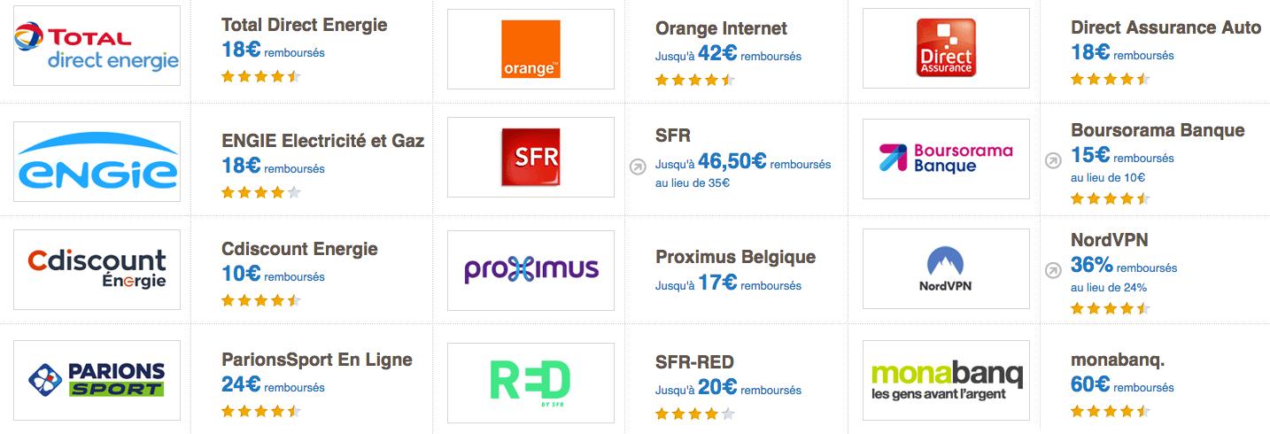 eBuyClub exemples marchands cashback abonnements internet énergie jeux banuqes assurances