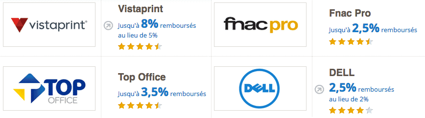 ebuyclub achats professionnels cashback top office fnac vistaprint dell