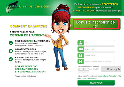 bonus incription greenpanthera