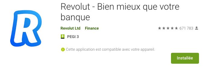 Application mobile Revolut Google Play store