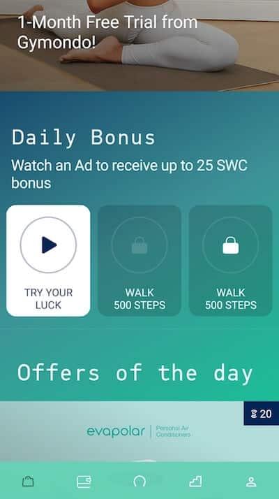Sweatcoin bonus quotidien