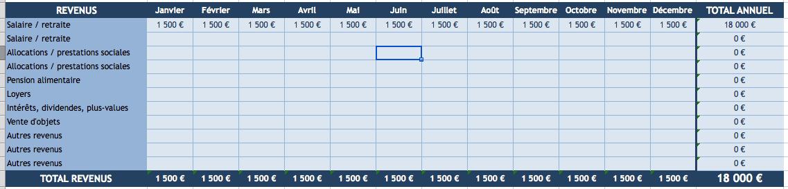 Total revenus budget Excel