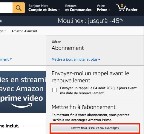 Amazon mettre fin essai gratuit