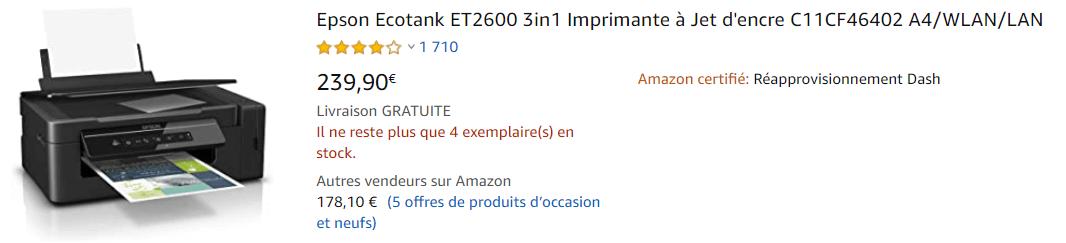 Imprimante Epson Eco Tank Amazon