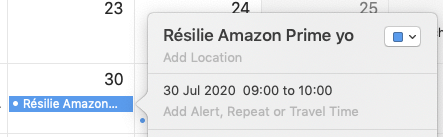 alerte résilier Amazon Prime