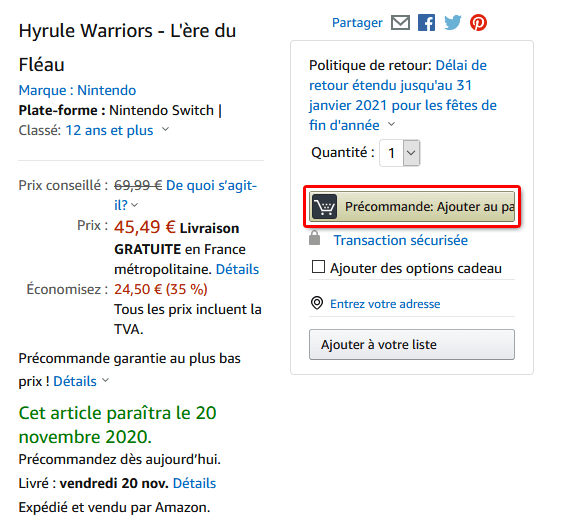 Amazon précommande ajouter au panier