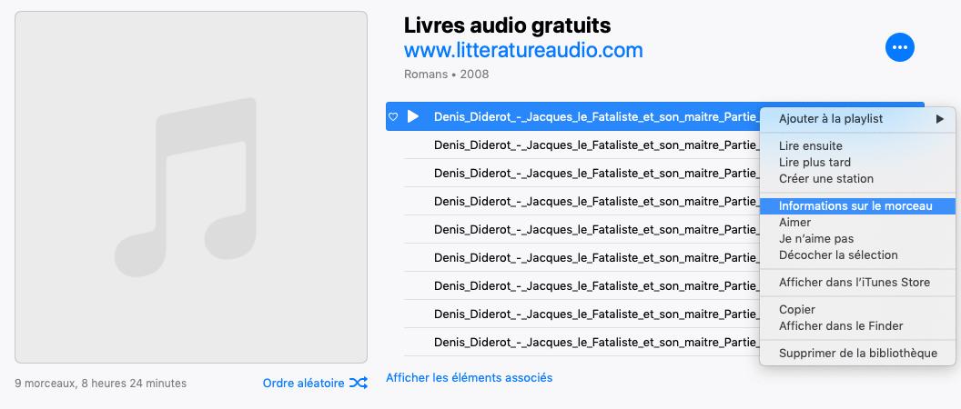 Livre audio mp3 iTunes 2