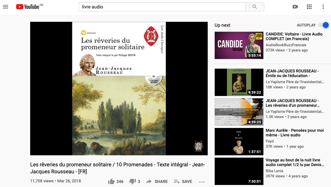 Livre audio Youtube Rousseau