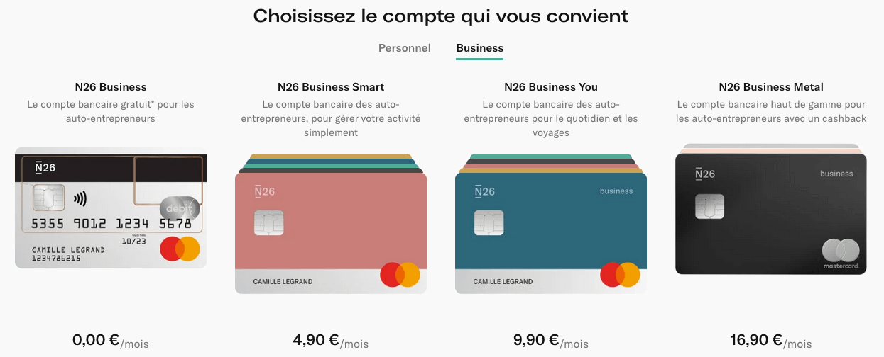 Cartes N26 Business