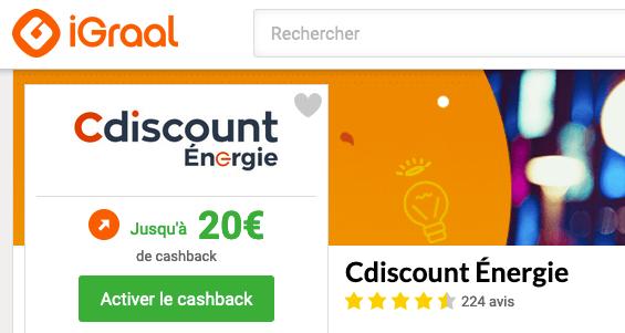 Cdiscount Energie cashback iGraal