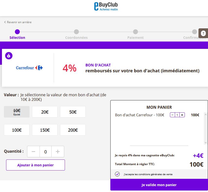 eBuyClub bon d'achat Carrefour