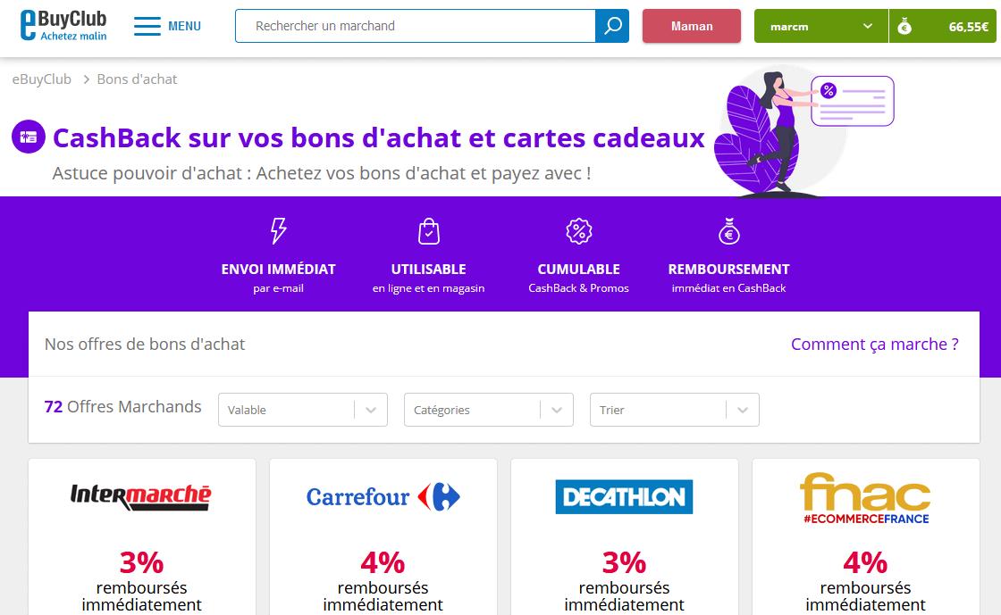 eBuyClub cashback sur bons d'achat