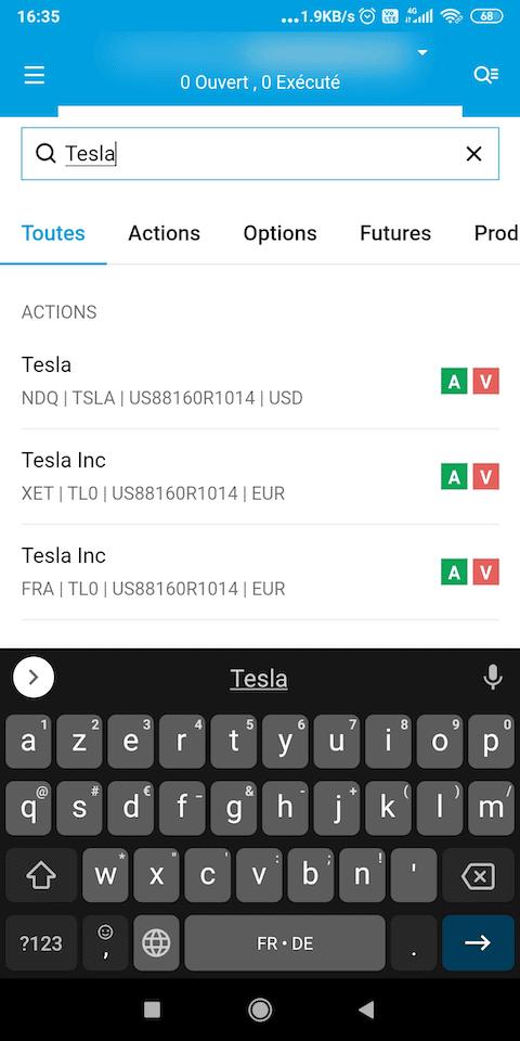 Degiro achat actions Tesla 1