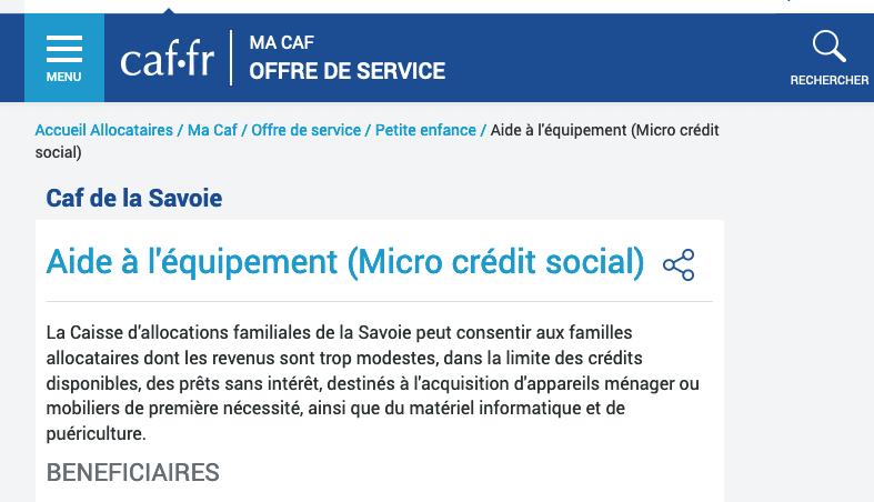 CAF micro crédit social