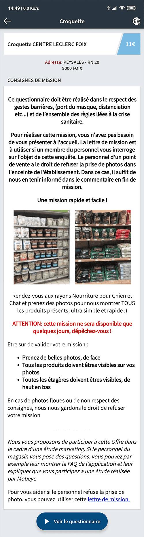 Exemple mission Mobeye Leclerc croquettes